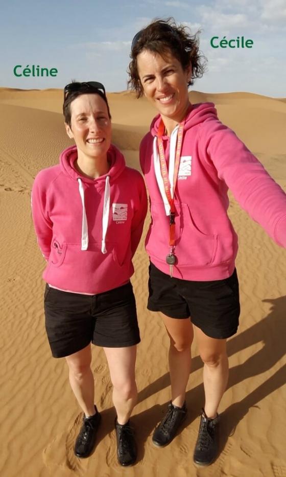 céline et cécile pour l'équipage 82 dans le trophée des roses des sables. Le défi c'roses